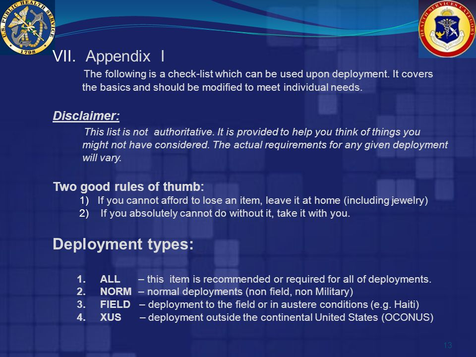 VII. Appendix I The following is a check-list which can be used upon deployment.