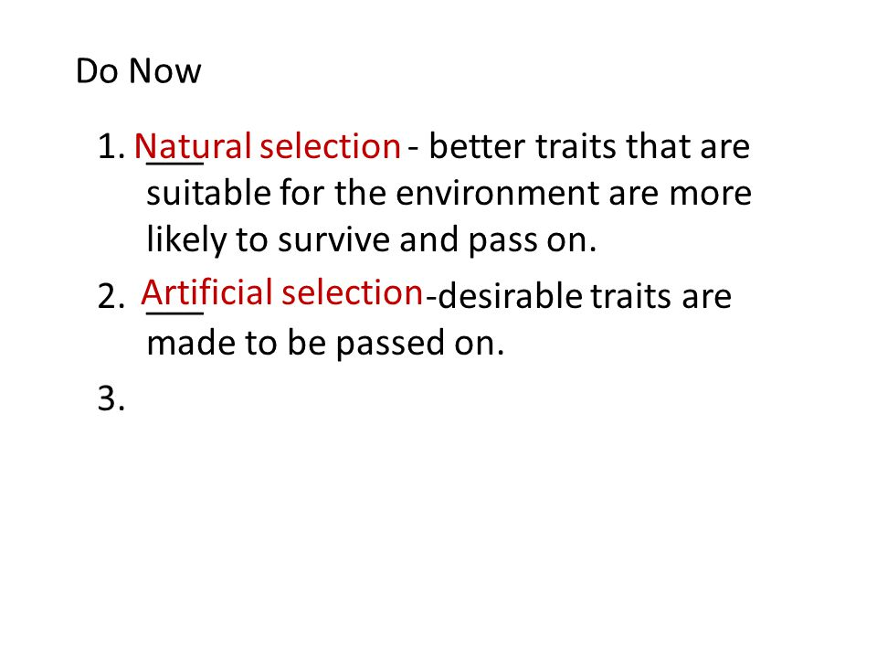 Do Now 1.___ - better traits that are suitable for the environment are more likely to survive and pass on.
