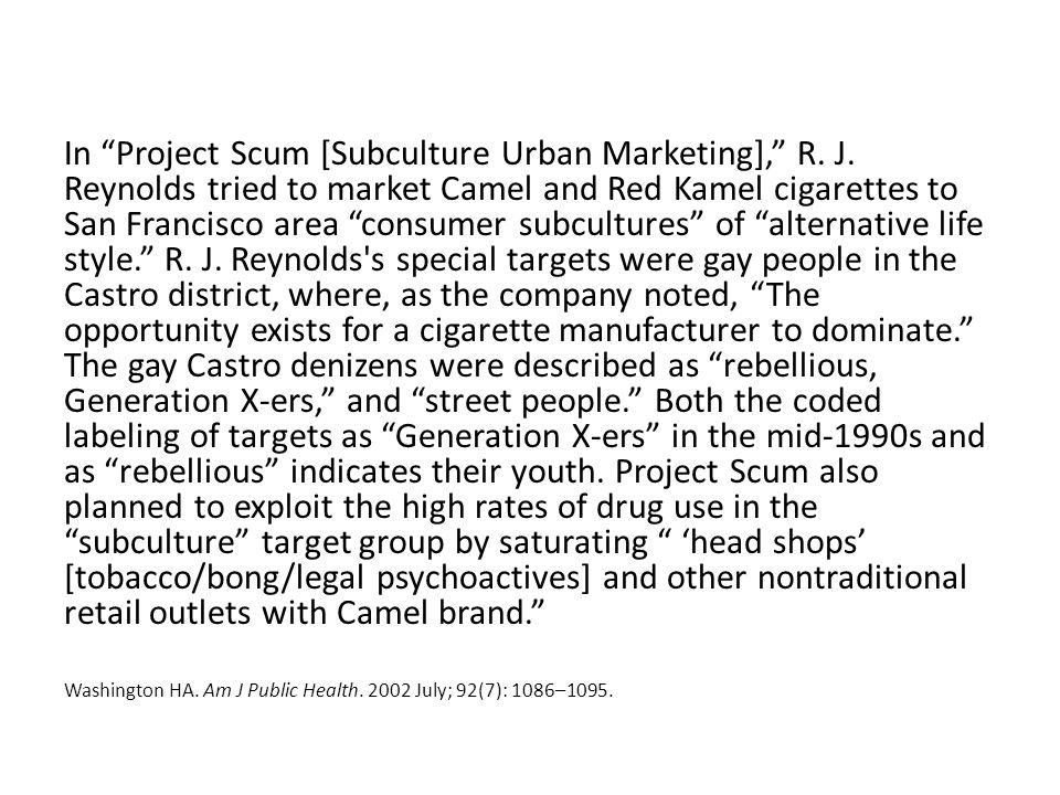 In Project Scum [Subculture Urban Marketing], R.