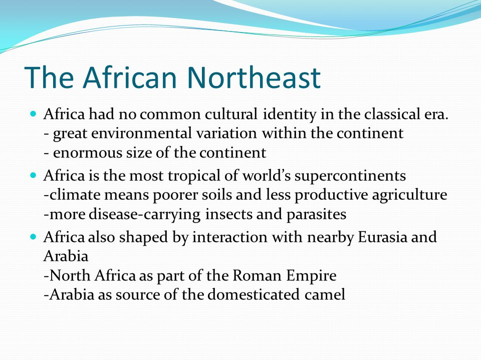 The African Northeast Africa had no common cultural identity in the classical era. - great environmental variation within the continent - enormous siz