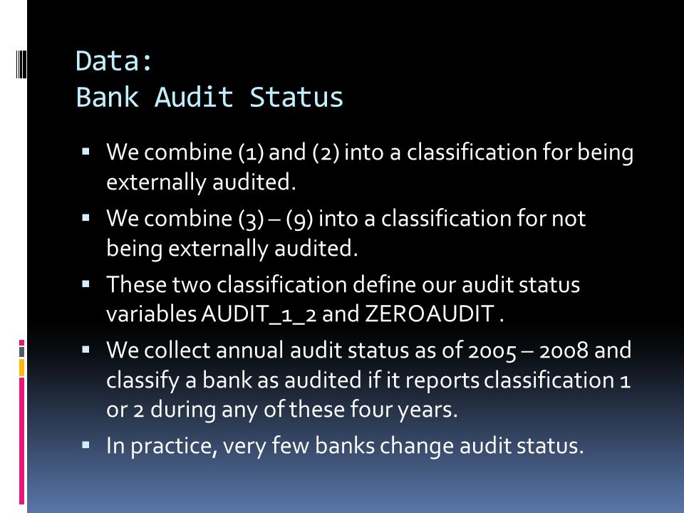 Data: Bank Audit Status  We combine (1) and (2) into a classification for being externally audited.