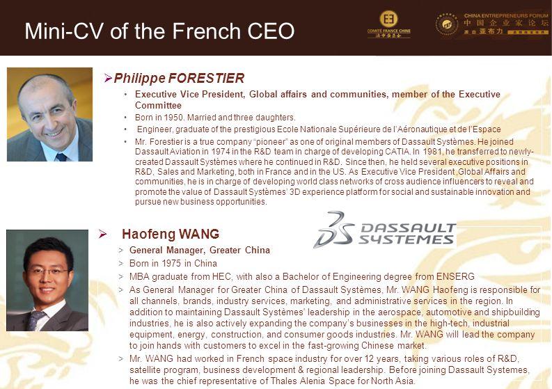 15 Mini-CV des Membres de la Délégation Officielle (6)  Philippe FORESTIER Executive Vice President, Global affairs and communities, member of the Ex