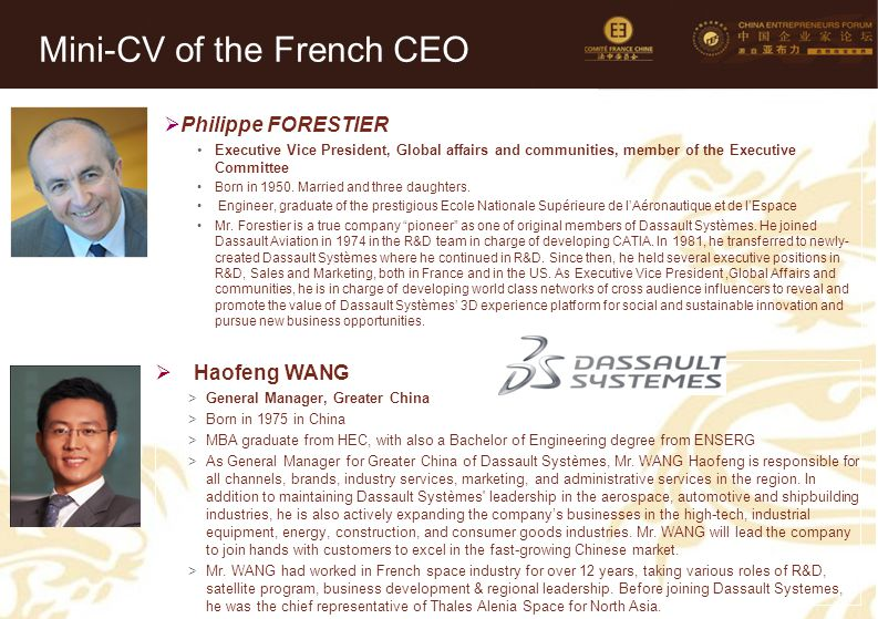 15 Mini-CV des Membres de la Délégation Officielle (6)  Philippe FORESTIER Executive Vice President, Global affairs and communities, member of the Executive Committee Born in 1950.
