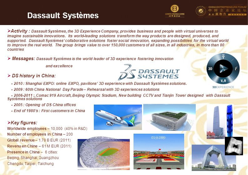 51  Activity : Dassault Systèmes, the 3D Experience Company, provides business and people with virtual universes to imagine sustainable innovations.