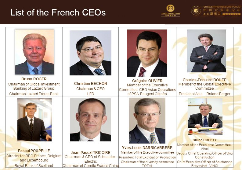 7 Bruno ROGER Chairman of Global Investment Banking of Lazard Group Chairman Lazard Frères Bank Christian BECHON Chairman & CEO LFB Grégoire OLIVIER M