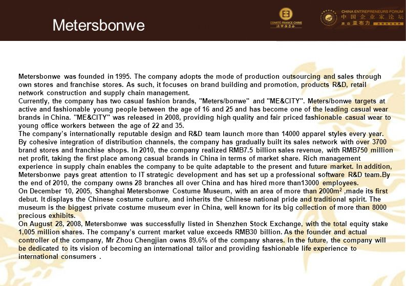 77 Metersbonwe Metersbonwe was founded in 1995. The company adopts the mode of production outsourcing and sales through own stores and franchise store