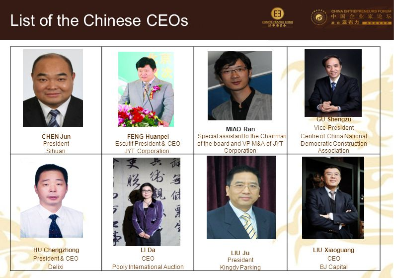 9 CHEN Jun President Sihuan FENG Huanpei Escutif President & CEO JYT Corporation. MIAO Ran Special assistant to the Chairman of the board and VP M&A o