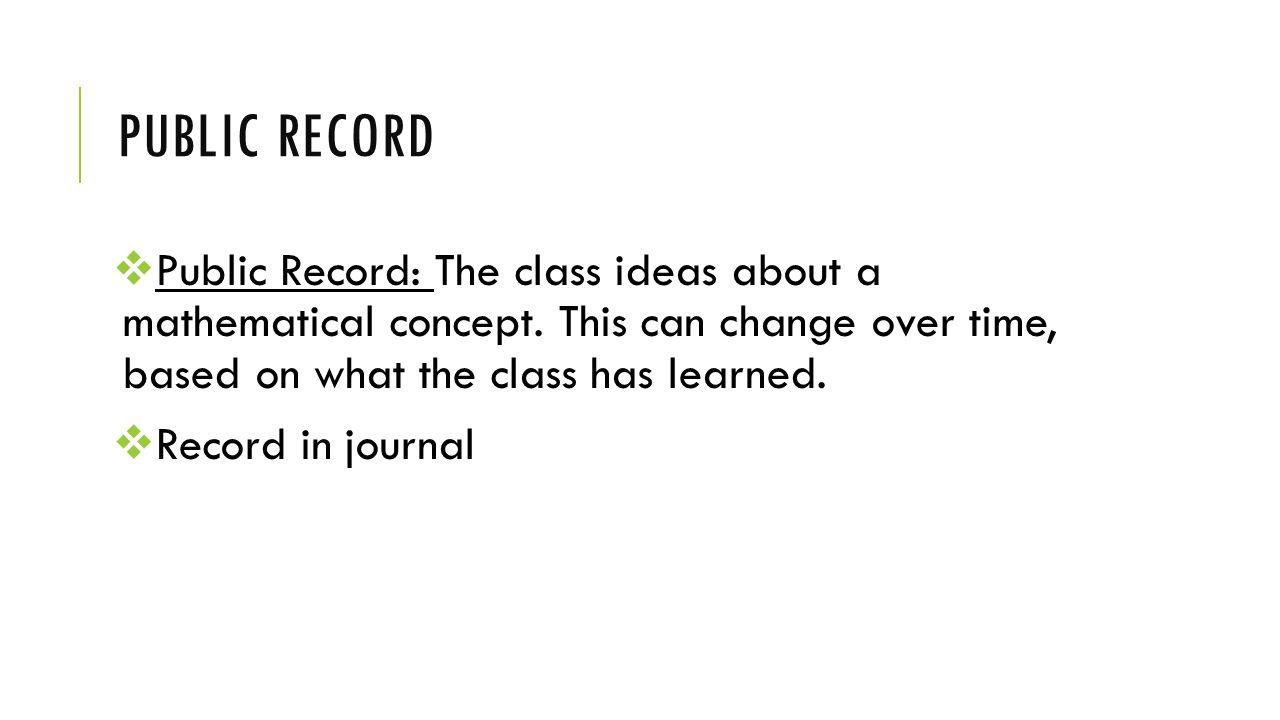 PUBLIC RECORD  Public Record: The class ideas about a mathematical concept.