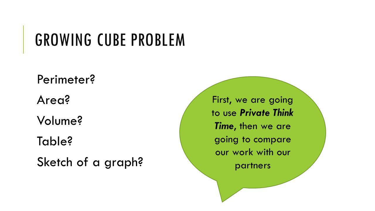 GROWING CUBE PROBLEM Perimeter. Area. Volume. Table.