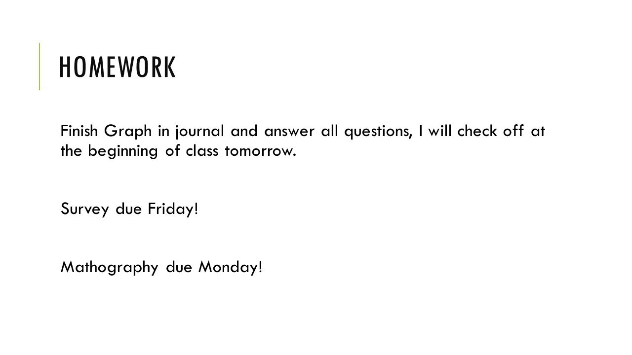 HOMEWORK Finish Graph in journal and answer all questions, I will check off at the beginning of class tomorrow.