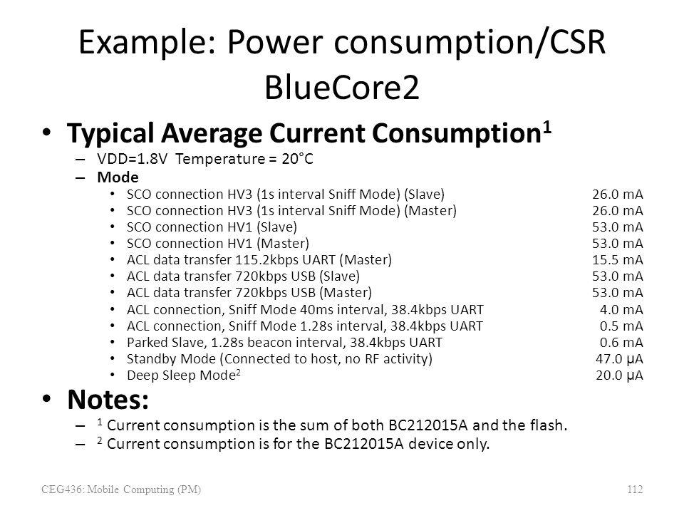 Example: Power consumption/CSR BlueCore2 Typical Average Current Consumption 1 – VDD=1.8V Temperature = 20°C – Mode SCO connection HV3 (1s interval Sn