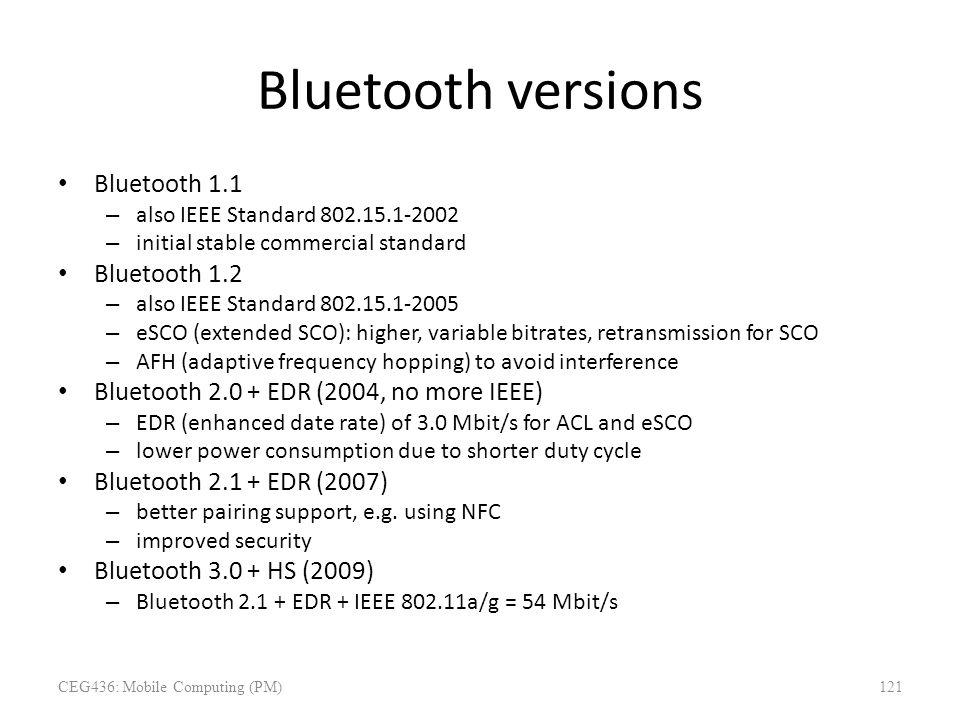 Bluetooth versions Bluetooth 1.1 – also IEEE Standard 802.15.1-2002 – initial stable commercial standard Bluetooth 1.2 – also IEEE Standard 802.15.1-2