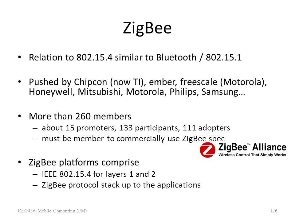 ZigBee Relation to 802.15.4 similar to Bluetooth / 802.15.1 Pushed by Chipcon (now TI), ember, freescale (Motorola), Honeywell, Mitsubishi, Motorola,