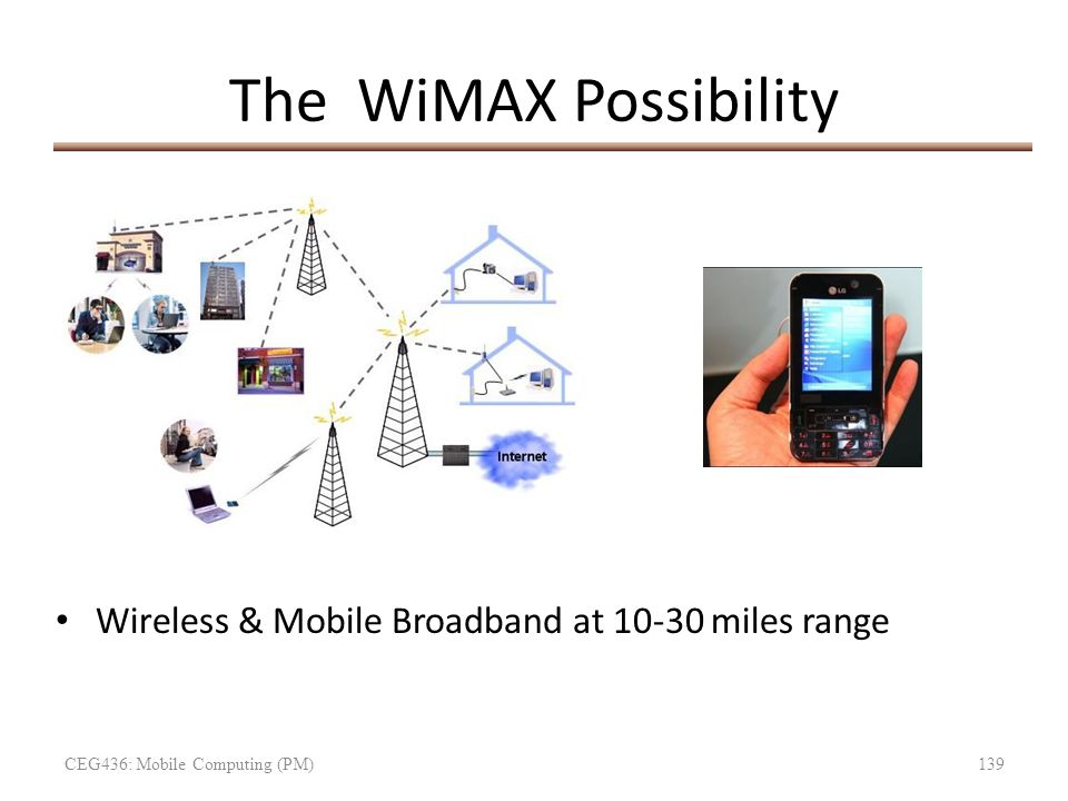 The WiMAX Possibility Wireless & Mobile Broadband at 10-30 miles range CEG436: Mobile Computing (PM)139