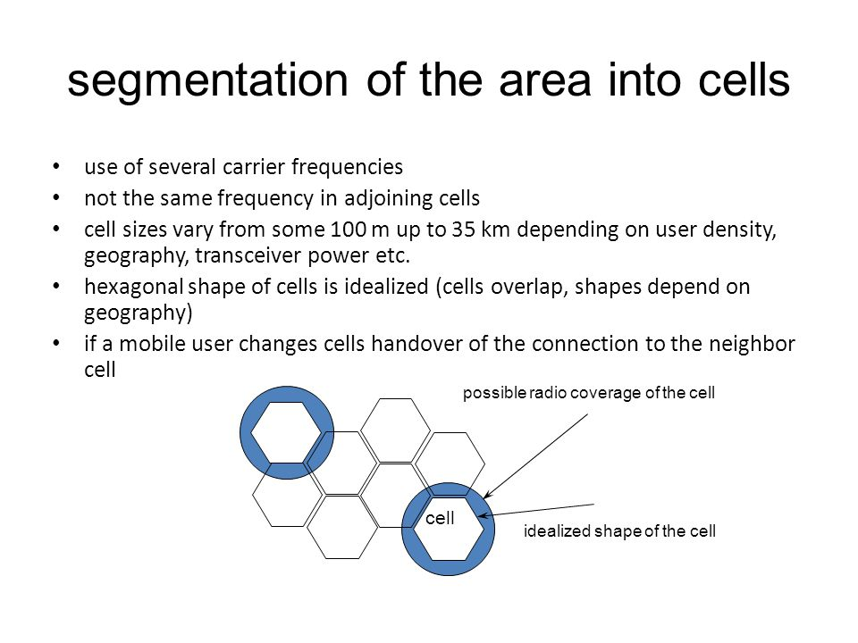 segmentation of the area into cells use of several carrier frequencies not the same frequency in adjoining cells cell sizes vary from some 100 m up to