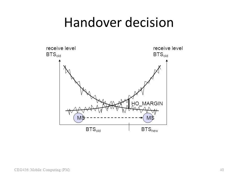 Handover decision receive level BTS old receive level BTS old MS HO_MARGIN BTS old BTS new CEG436: Mobile Computing (PM)40