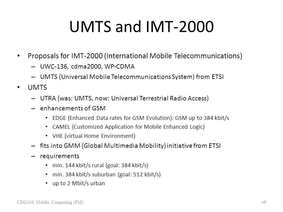 UMTS and IMT-2000 Proposals for IMT-2000 (International Mobile Telecommunications) – UWC-136, cdma2000, WP-CDMA – UMTS (Universal Mobile Telecommunica
