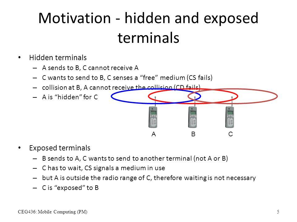 "Motivation - hidden and exposed terminals Hidden terminals – A sends to B, C cannot receive A – C wants to send to B, C senses a ""free"" medium (CS fai"