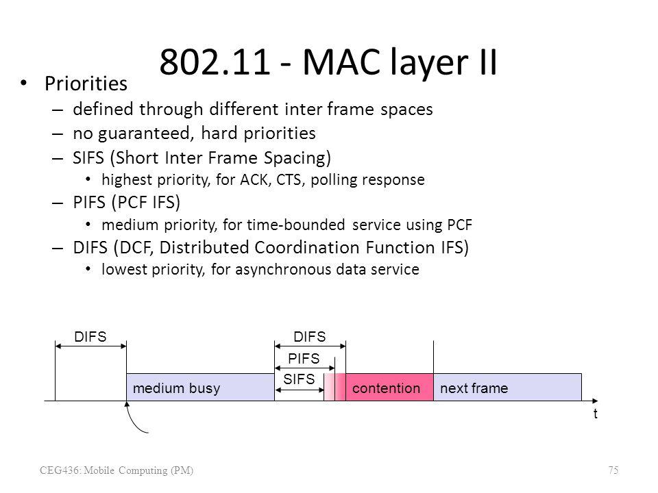 802.11 - MAC layer II Priorities – defined through different inter frame spaces – no guaranteed, hard priorities – SIFS (Short Inter Frame Spacing) hi