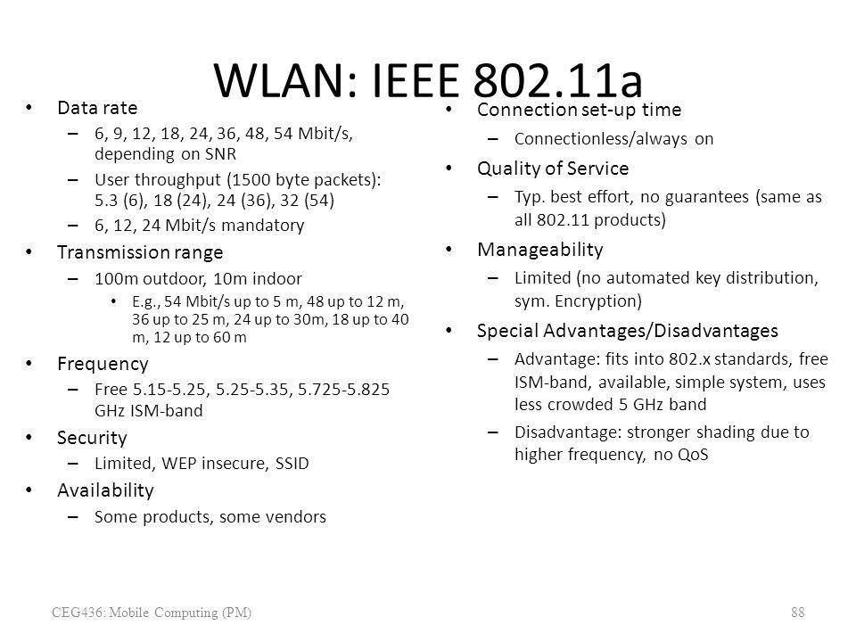 WLAN: IEEE 802.11a Data rate – 6, 9, 12, 18, 24, 36, 48, 54 Mbit/s, depending on SNR – User throughput (1500 byte packets): 5.3 (6), 18 (24), 24 (36),