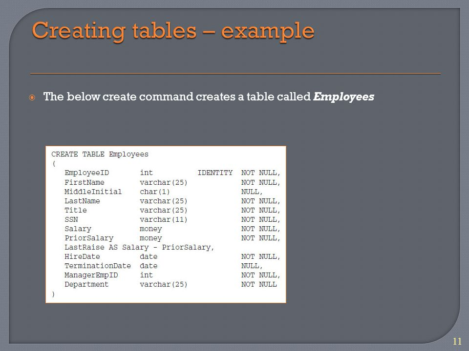 The below create command creates a table called Employees 11