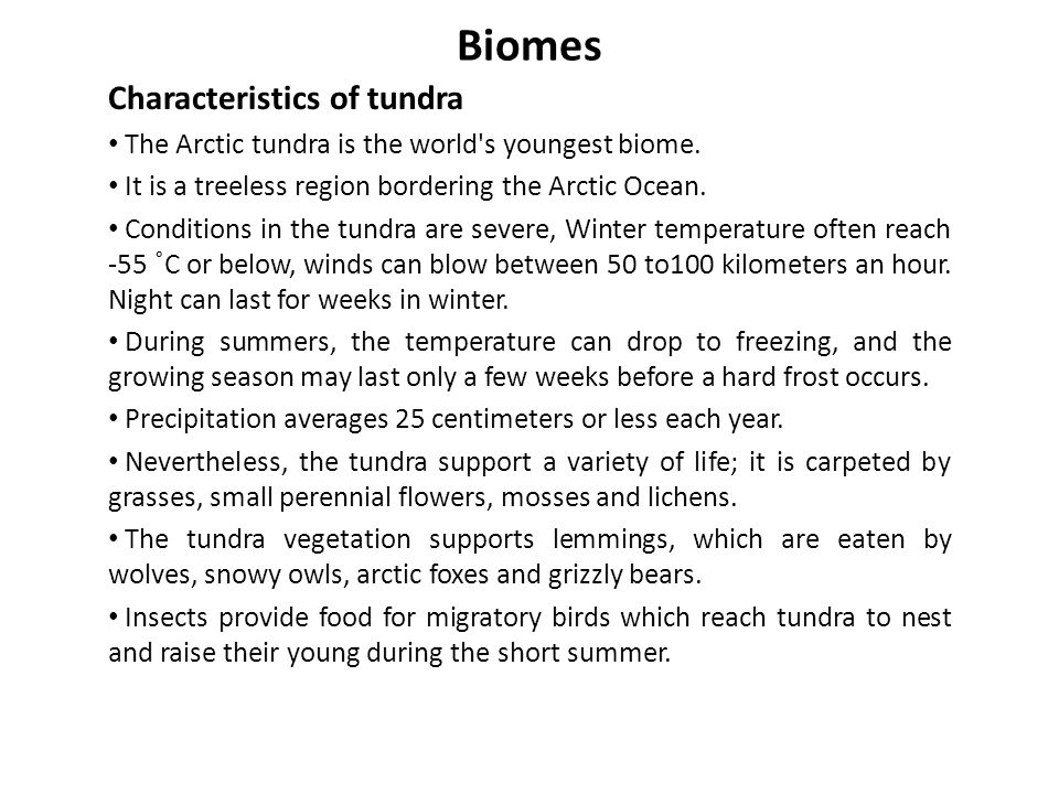 Biomes Tundra biome Tundra biome: The ground is permanently frozen 25 to 100 cm down so that trees can t grow.
