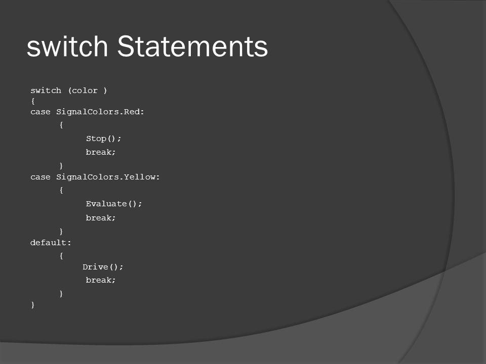switch Statements switch (color ) { case SignalColors.Red: { Stop(); break; } case SignalColors.Yellow: { Evaluate(); break; } default: { Drive(); break; }