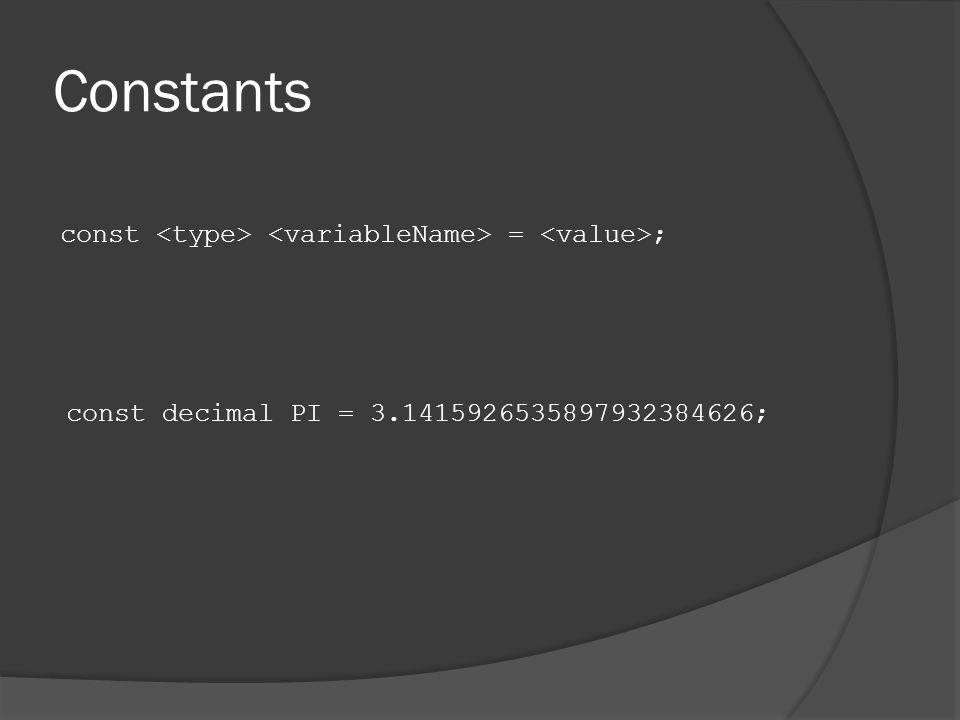 Constants const = ; const decimal PI = 3.1415926535897932384626;
