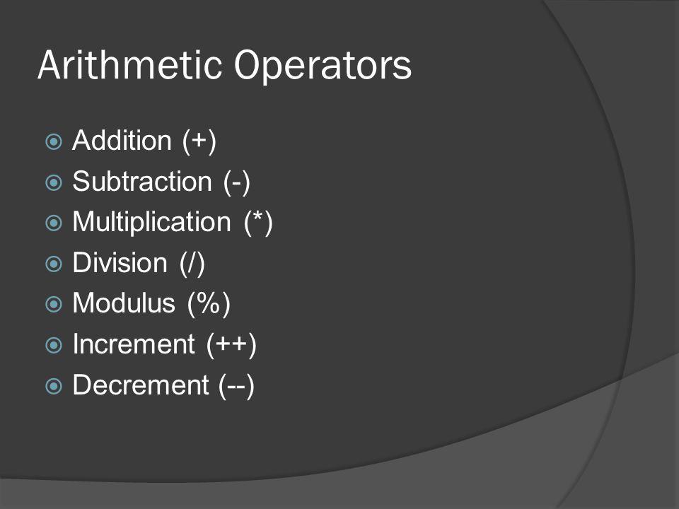 Arithmetic Operators  Addition (+)  Subtraction (-)  Multiplication (*)  Division (/)  Modulus (%)  Increment (++)  Decrement (--)
