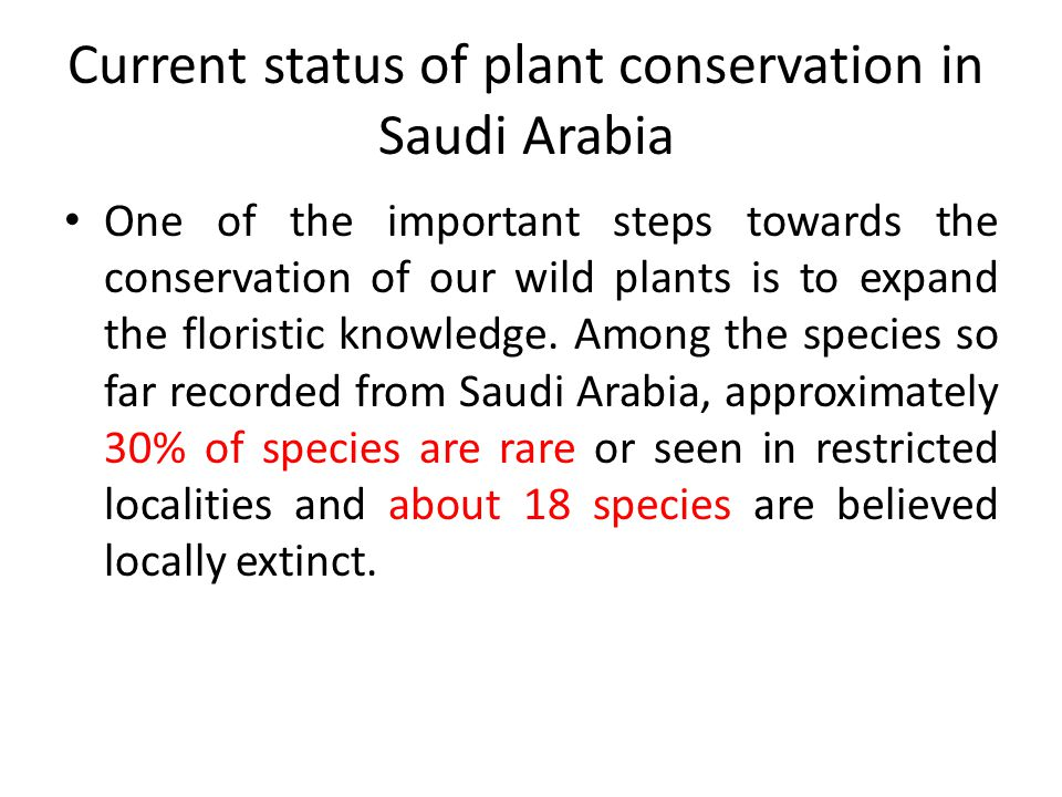Current status of plant conservation in Saudi Arabia One of the important steps towards the conservation of our wild plants is to expand the floristic knowledge.