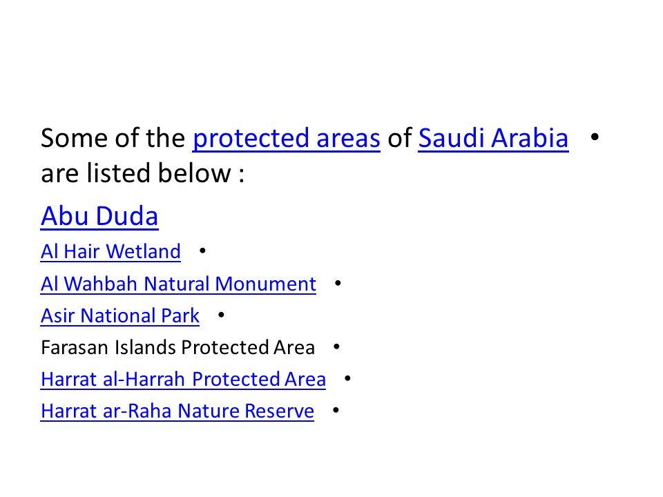 Some of the protected areas of Saudi Arabia are listed below :protected areasSaudi Arabia Abu Duda Al Hair Wetland Al Wahbah Natural Monument Asir National Park Farasan Islands Protected Area Harrat al-Harrah Protected Area Harrat ar-Raha Nature Reserve