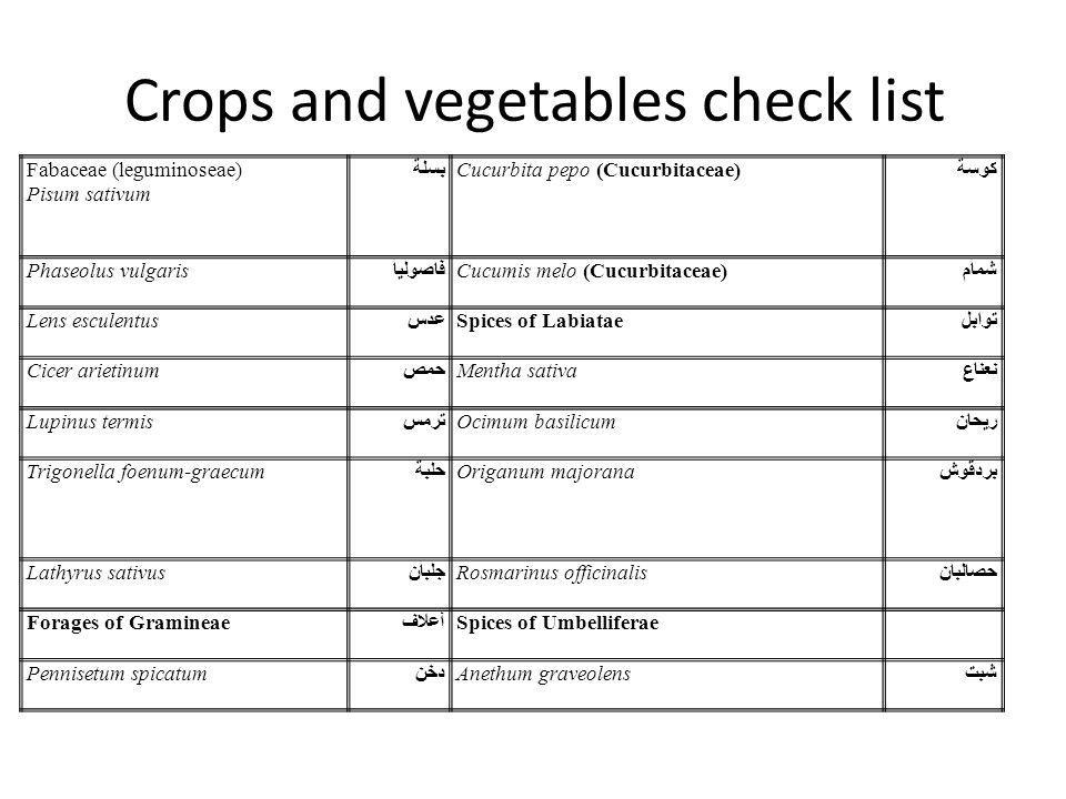 Crops and vegetables check list Fabaceae (leguminoseae) Pisum sativum بسلة Cucurbita pepo (Cucurbitaceae) كوسة Phaseolus vulgaris فاصوليا Cucumis melo