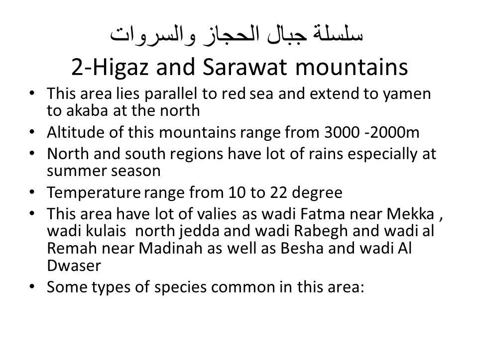 سلسلة جبال الحجاز والسروات 2-Higaz and Sarawat mountains This area lies parallel to red sea and extend to yamen to akaba at the north Altitude of this