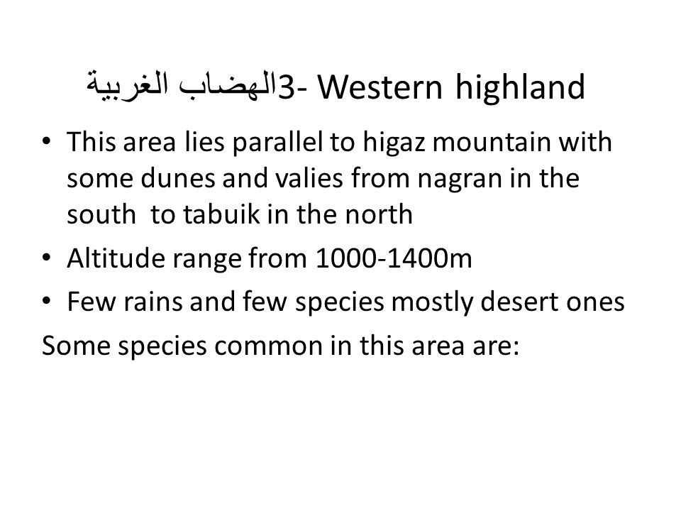 3- Western highland الهضاب الغربية This area lies parallel to higaz mountain with some dunes and valies from nagran in the south to tabuik in the nort