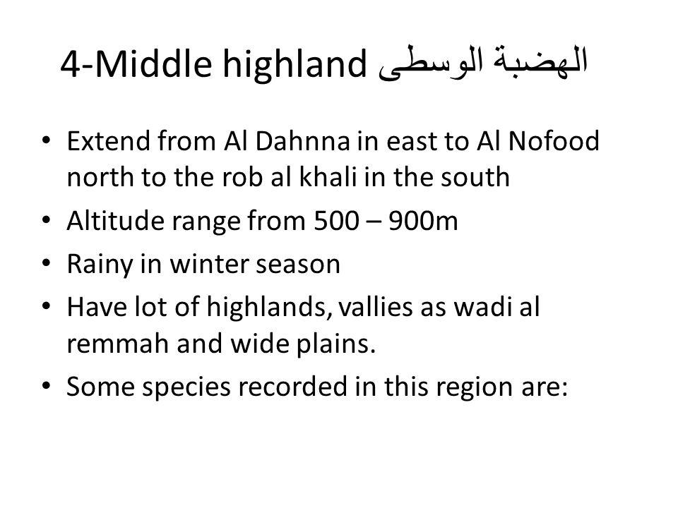 الهضبة الوسطى 4-Middle highland Extend from Al Dahnna in east to Al Nofood north to the rob al khali in the south Altitude range from 500 – 900m Rainy in winter season Have lot of highlands, vallies as wadi al remmah and wide plains.