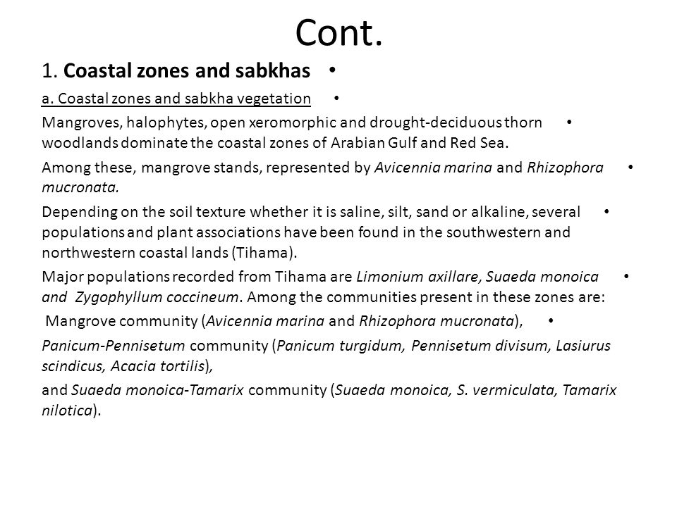 Cont. 1. Coastal zones and sabkhas a. Coastal zones and sabkha vegetation Mangroves, halophytes, open xeromorphic and drought-deciduous thorn woodland