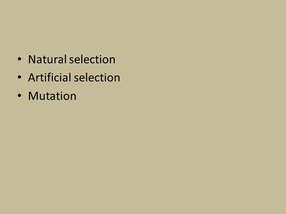Natural selection Artificial selection Mutation