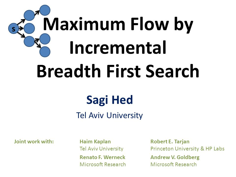 s Maximum Flow by Incremental Breadth First Search Joint work with:Haim KaplanRobert E.