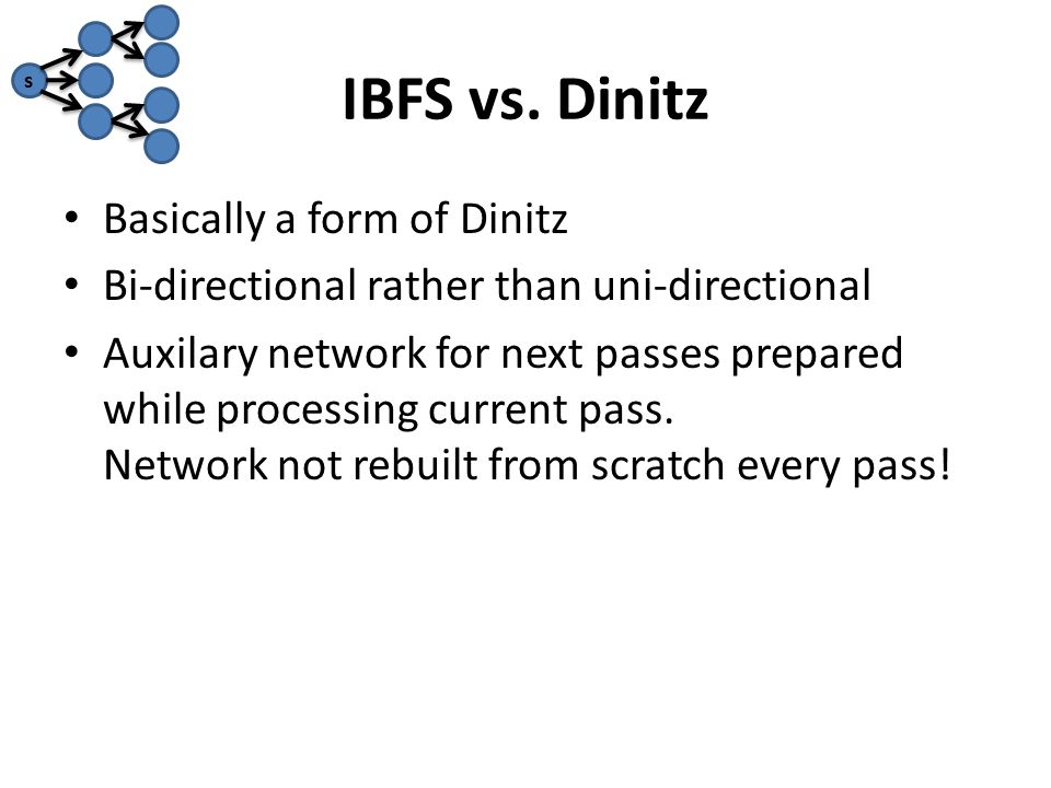 IBFS vs. Dinitz Basically a form of Dinitz Bi-directional rather than uni-directional Auxilary network for next passes prepared while processing curre