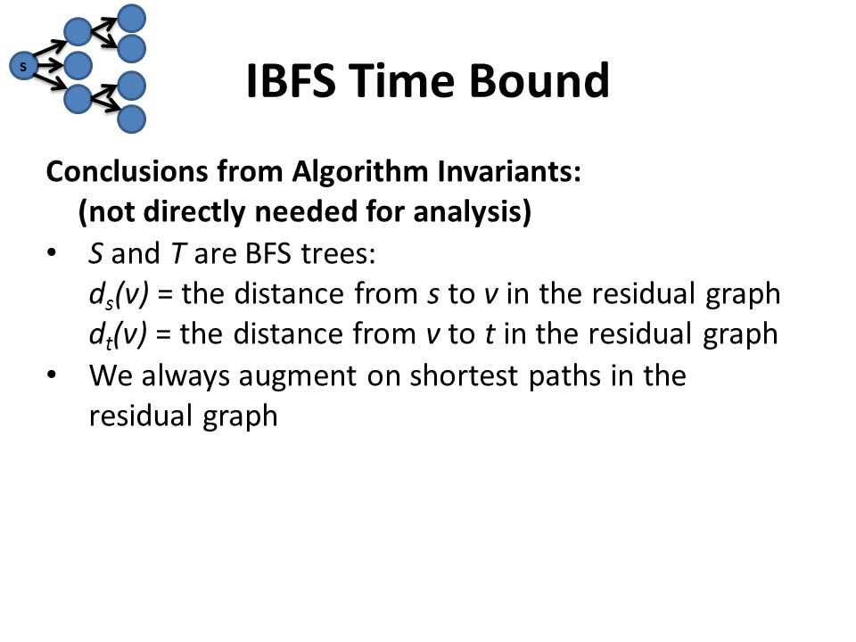 IBFS Time Bound Conclusions from Algorithm Invariants: (not directly needed for analysis) S and T are BFS trees: d s (v) = the distance from s to v in the residual graph d t (v) = the distance from v to t in the residual graph We always augment on shortest paths in the residual graph s