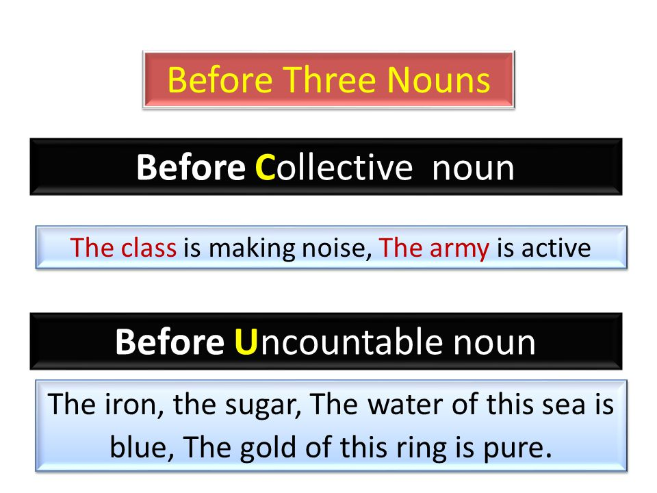 Before Three Nouns Before Collective noun The class is making noise, The army is active Before Uncountable noun The iron, the sugar, The water of this sea is blue, The gold of this ring is pure.