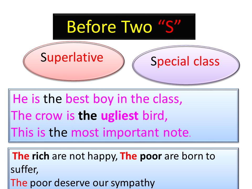Before Two S Superlative Special class The rich are not happy, The poor are born to suffer, The poor deserve our sympathy The rich are not happy, The poor are born to suffer, The poor deserve our sympathy He is the best boy in the class, The crow is the ugliest bird, This is the most important note.