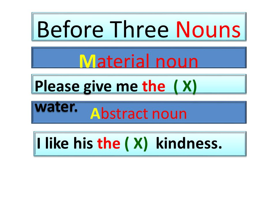 Before Three Nouns Material noun Abstract noun Please give me the ( X) water.