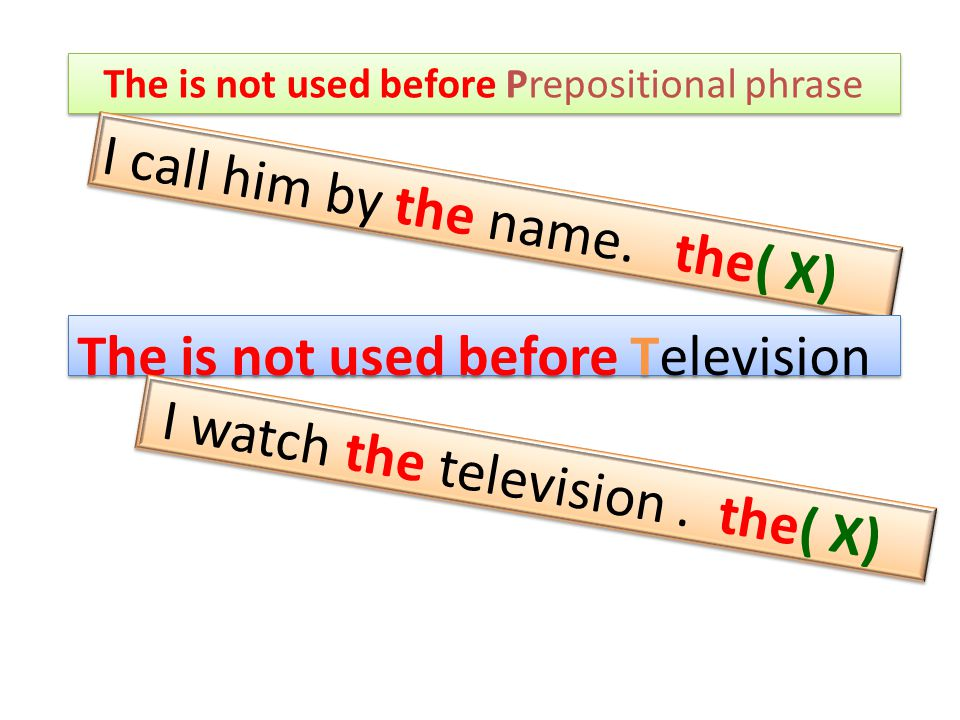 The is not used before Prepositional phrase I call him by the name.