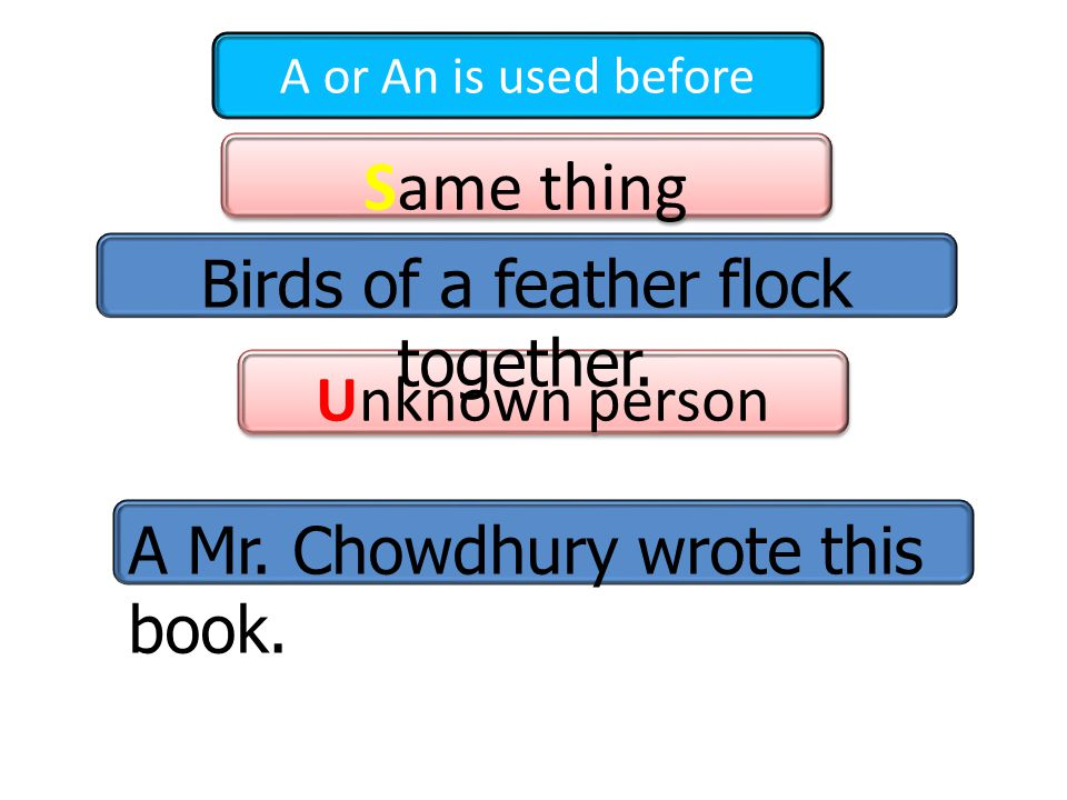 A or An is used before Same thing Same thing Unknown person Unknown person Birds of a feather flock together.