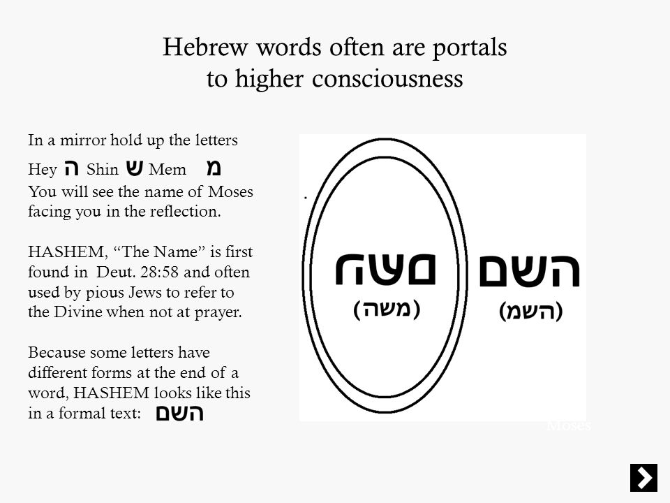 Hebrew words often are portals to higher consciousness Moses In a mirror hold up the letters Hey Shin Mem You will see the name of Moses facing you in the reflection.