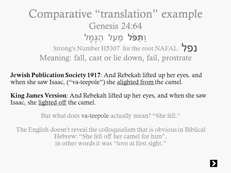 Comparative translation example Genesis 24:64 Strong's Number H5307 for the root NAFAL Meaning: fall, cast or lie down, fail, prostrate Jewish Publication Society 1917 : And Rebekah lifted up her eyes, and when she saw Isaac, ( va-teepole ) she alighted from the camel.