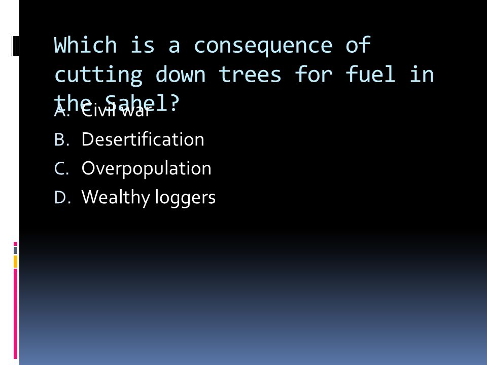 Which is a consequence of cutting down trees for fuel in the Sahel.