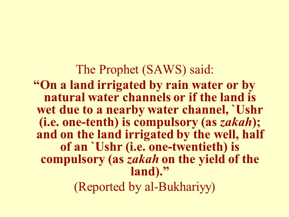 The Prophet (SAWS) said: On a land irrigated by rain water or by natural water channels or if the land is wet due to a nearby water channel, `Ushr (i.e.