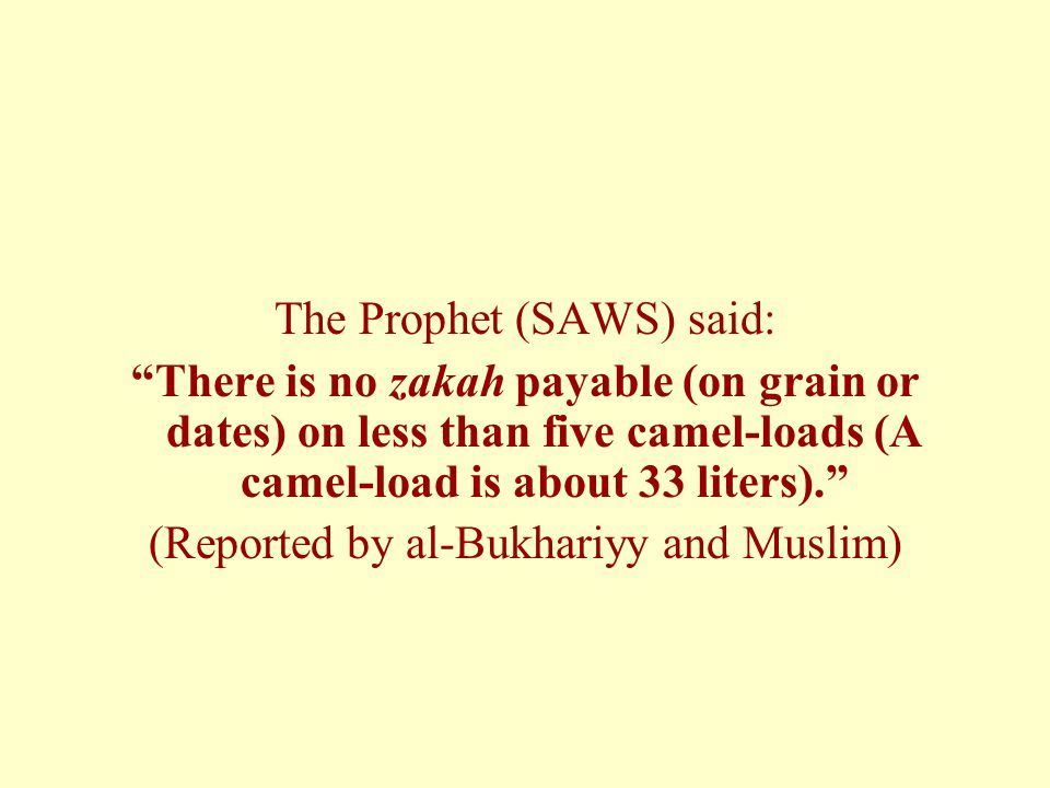 The Prophet (SAWS) said: There is no zakah payable (on grain or dates) on less than five camel-loads (A camel-load is about 33 liters). (Reported by al-Bukhariyy and Muslim)